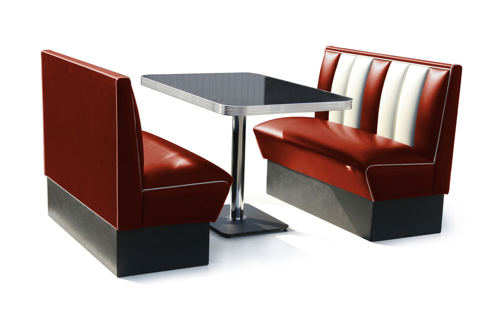 retro 50s diner furniture kitchen table restaurant bench booth seating ruby ebay. Black Bedroom Furniture Sets. Home Design Ideas