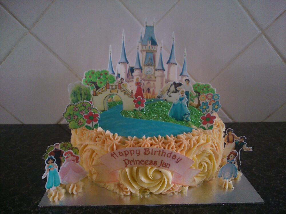 Disney Cake Decorations Princess : Disney Princess Castle Scene **WAFER** Edible Cake ...