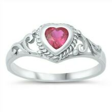 USA Seller Heart Baby Ring Sterling Silver 925 Best Price Jewelry Ruby CZ