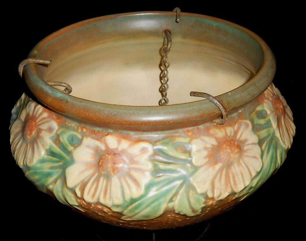 Circa 1938 roseville pottery dahlrose pattern hanging for Pottery patterns