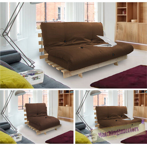 Brown Studio Futon Wooden Frame Sofa Bed Thick Sleeping