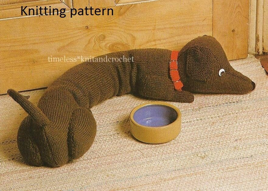 Knitted Draught Excluder Pattern : KNITTING PATTERN TO MAKE A DACHSHUND DOG DRAUGHT EXCLUDER / TOY - pattern onl...