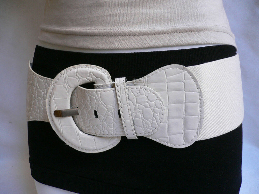 new hip high waist elastic white wide fashion belt