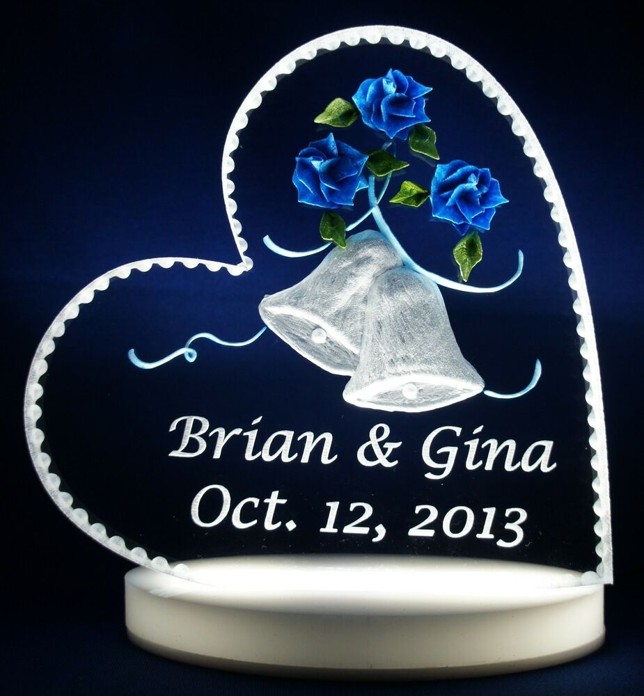 Roses Bells Wedding Cake Topper Clear Glass Like Acrylic Engraved Shipped Free