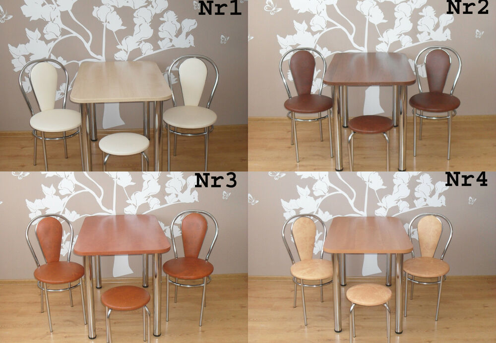 design esstisch k chentisch bistrotisch mit chromfu 110 x 67 4 st hle ebay. Black Bedroom Furniture Sets. Home Design Ideas