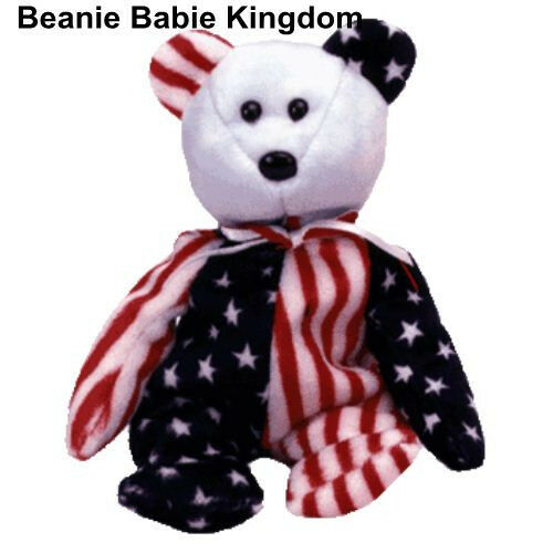 a0f72175772 Details about TY BEANIE BABY BABIE SPANGLE (BLUE HEAD) AMERICAN STARS AND  STRIPES TEDDY BEAR