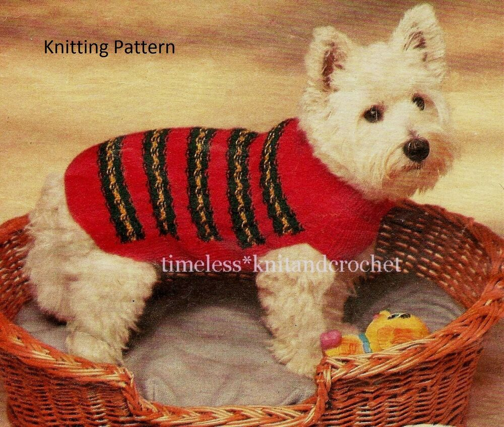 Knitting Coats For Dogs : Vintage knitting pattern for a small dog coat jacket