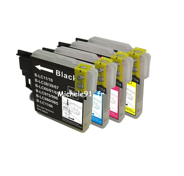 12 Cartouches d'encre compatibles BROTHER DCP 195 ( 3 x Pack LC 1100 )