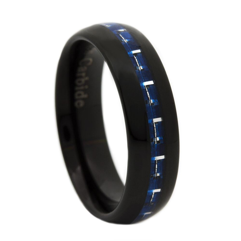 thin blue line ring black blue tungsten carbide 6mm dome