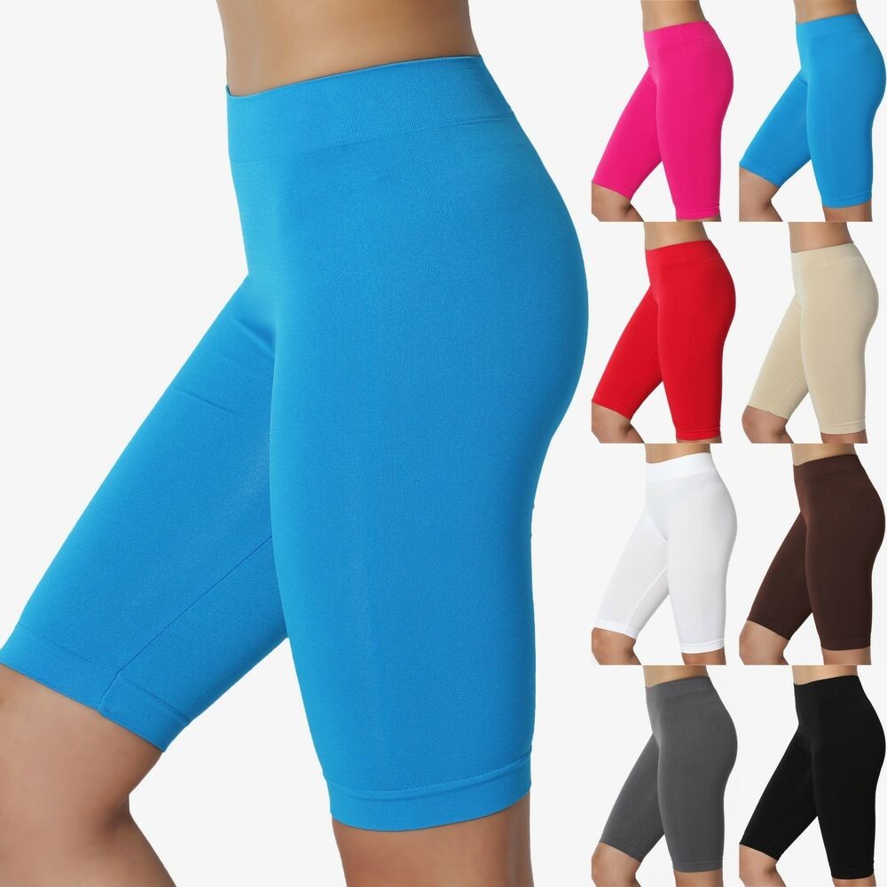 Slip Shorts Leggings for Women with Lace Mid-Thigh High Waist Safety. from $ 2 99 Prime. out of 5 stars MOPAS. Basic Solid Biker Knee Length Shorts Spandex Yoga Leggings. from $ 4 27 Prime. out of 5 stars Ancia. Womens Tartan Active Workout Capri Leggings Fitted Stretch Tights.
