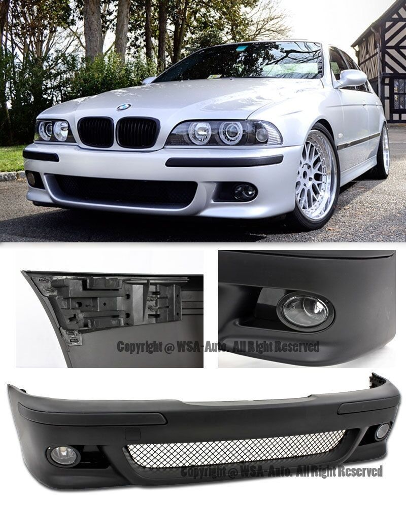 for 97 03 bmw e39 5 series m5 style front bumper cover w clear fog light kit ebay. Black Bedroom Furniture Sets. Home Design Ideas