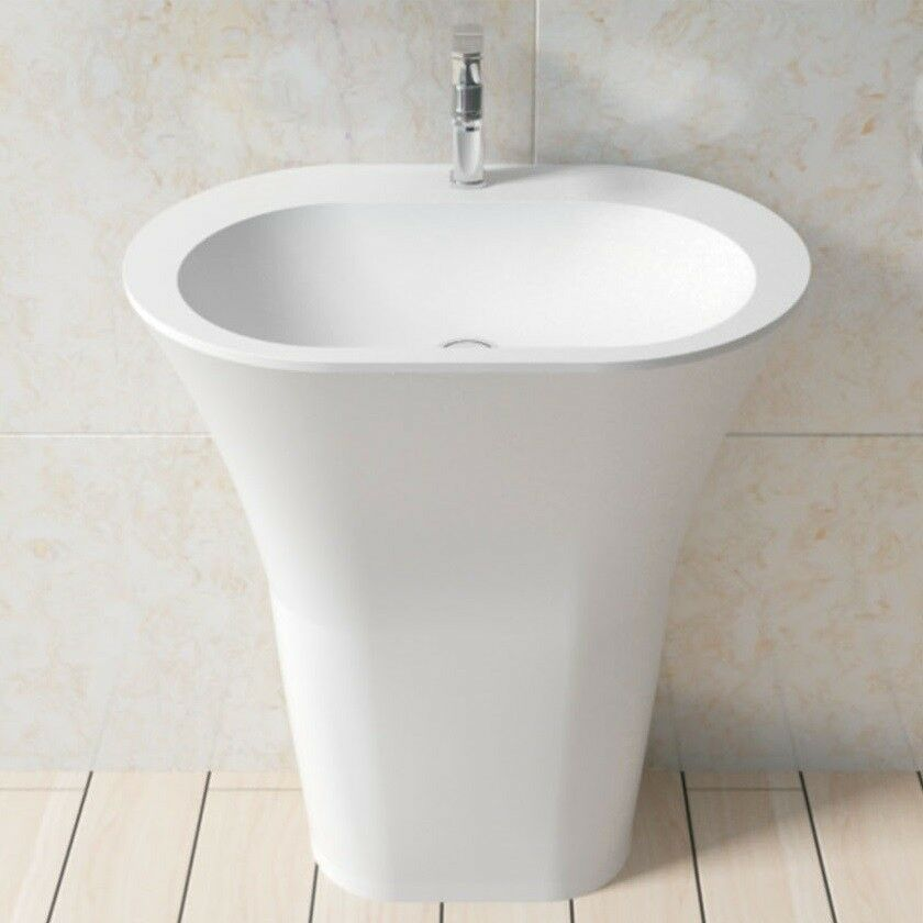 Free Standing Solid Surface Stone Modern Pedestal Sink 25