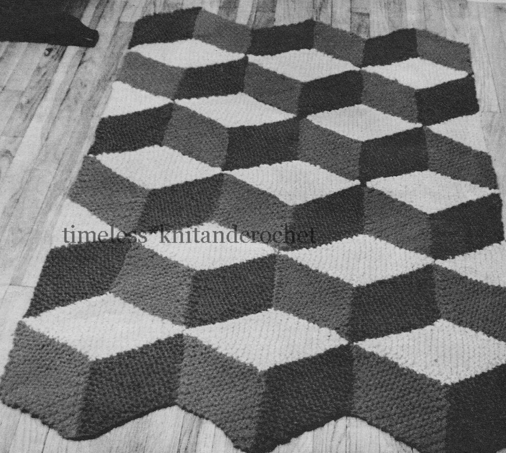 Vintage Effect Rug: VINTAGE KNITTING PATTERN FOR 3D EFFECT RUG / MAT