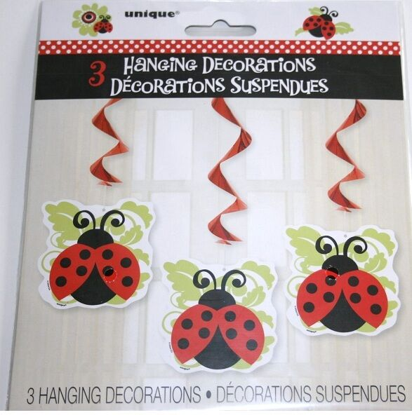 Red ladybug 1st birthday 3 hanging decorations party supplies