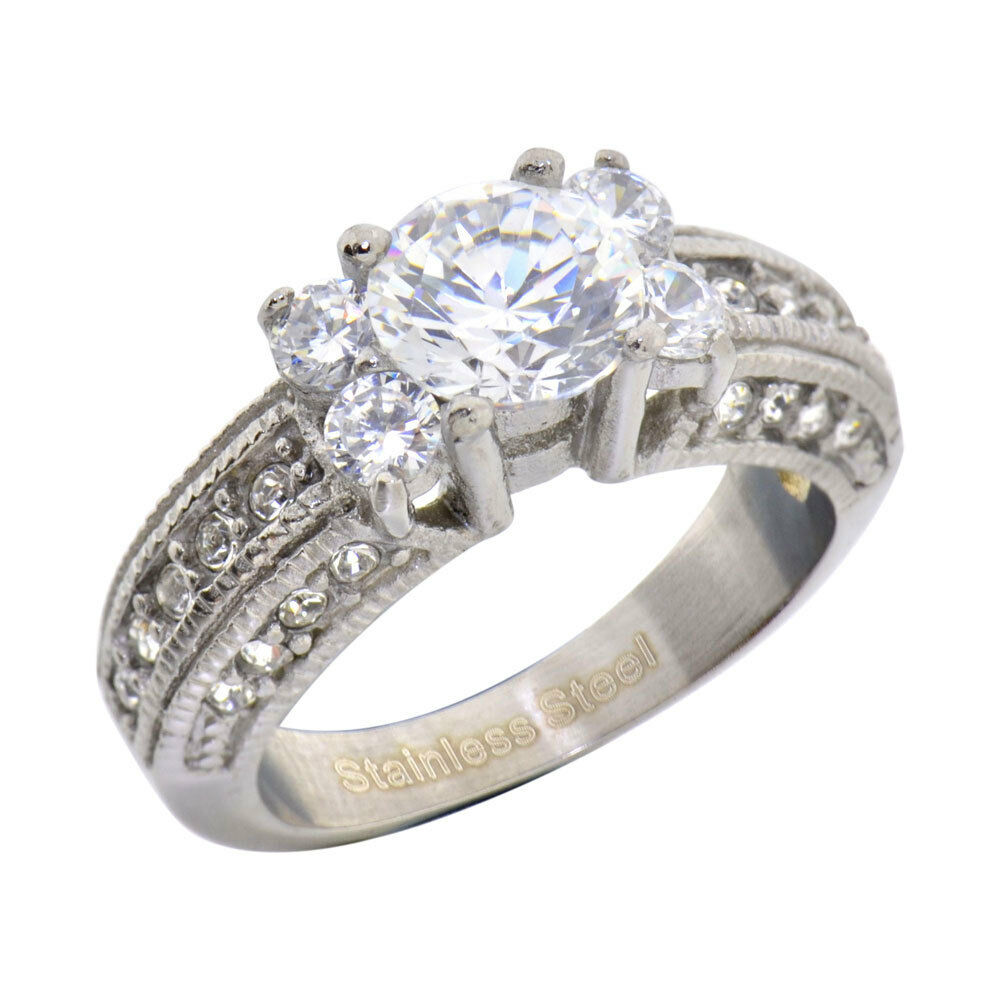 stainless steel cubic zirconia engagement