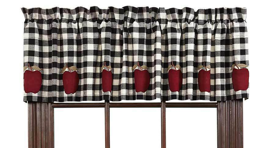 Valance Curtains Black White Check Lined Kitchen Appliqu 233