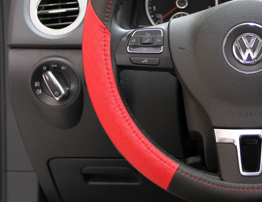black red pvc leather steering wheel cover toyota corolla camry tacoma 14 15 ebay. Black Bedroom Furniture Sets. Home Design Ideas