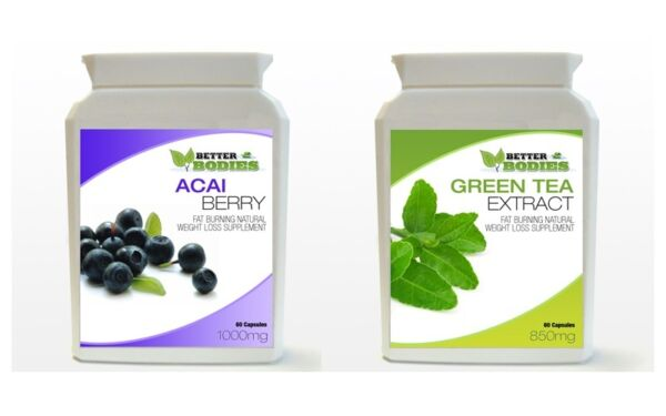 60 Acai Berry 60 Green Tea Colon Cleanse Weight Loss Diet Capsules Pills BOTTLE