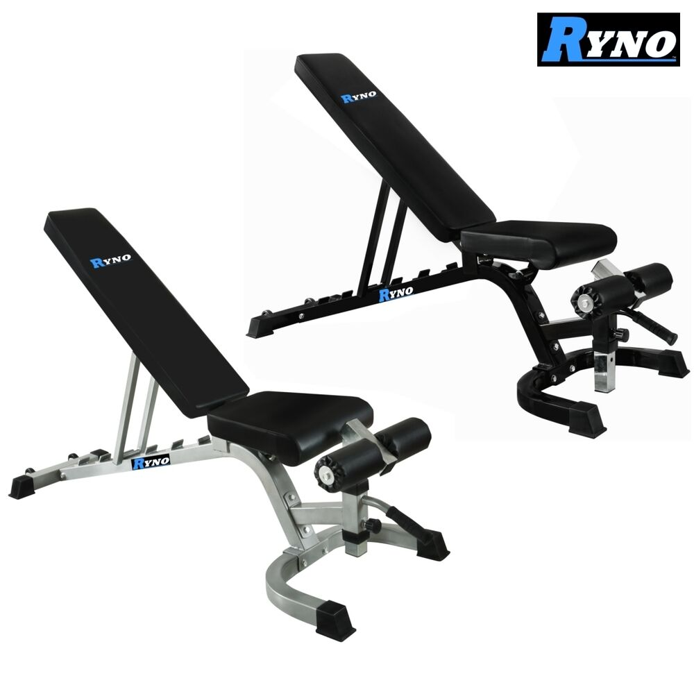 Ryno Adjustable Dumbbell Weight Bench Flat Incline Military Decline Press Ebay