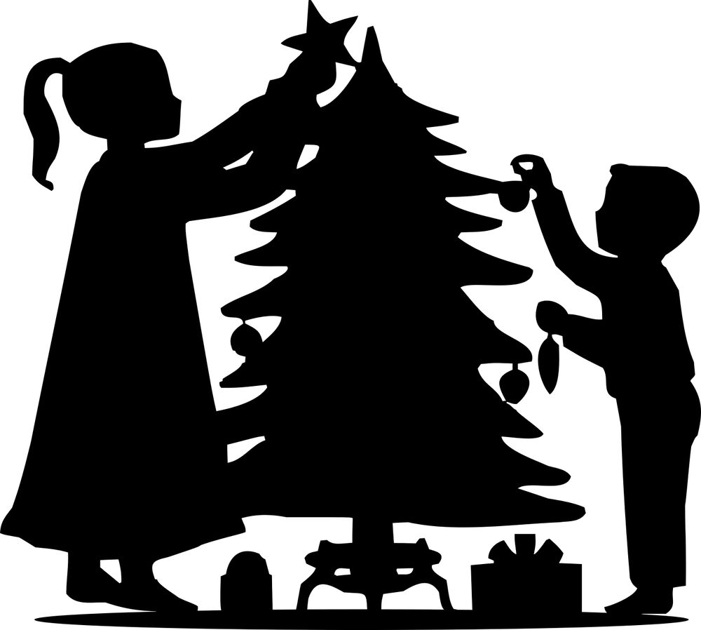XMAS Die Cut Silhouette Children Decorating XmasTree x 6 Cardmaking ...