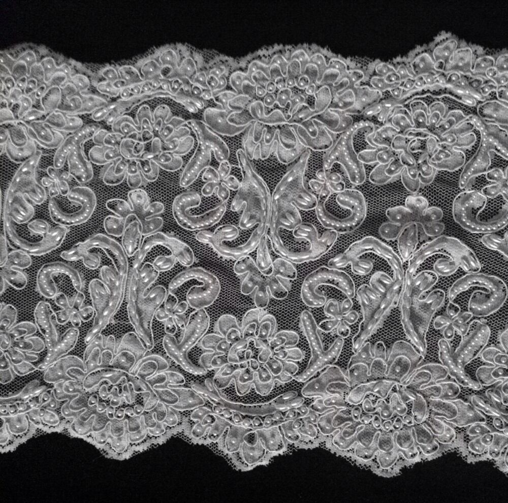 white beaded corded bridal lace trimming 10 quot wide by the