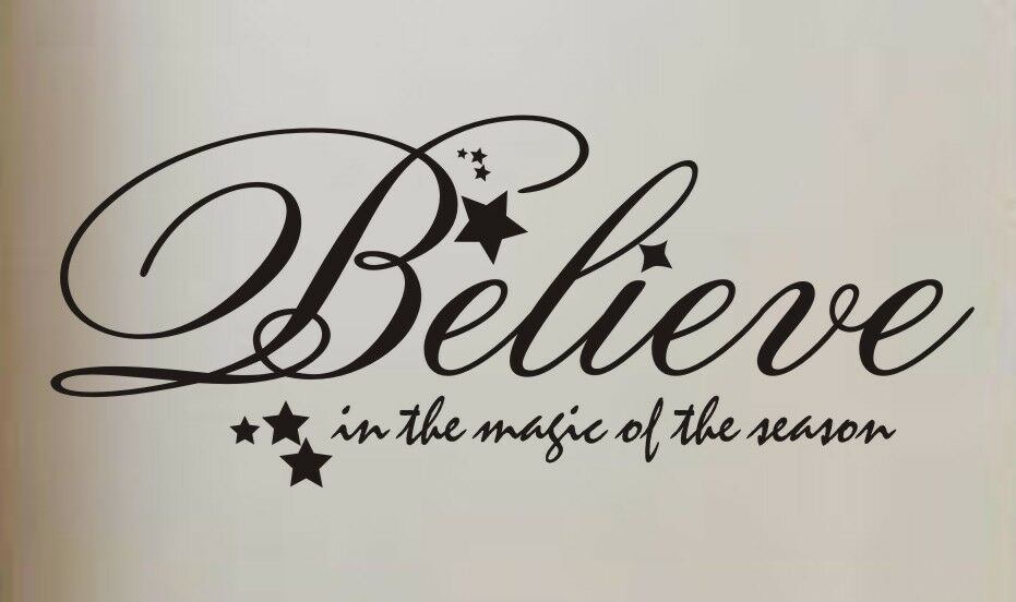 Merry Christmas Quote Wall Art Decal: Wall Decal Quote Vinyl Sticker Art Lettering Large Believe
