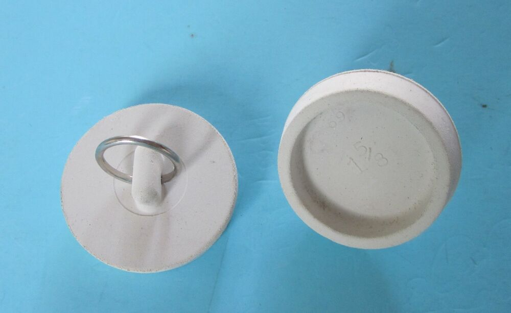 White Rubber Basin Sink Tub Stopper With Nickel Plated