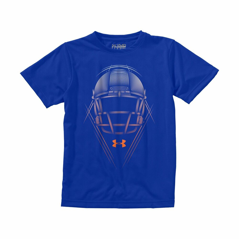Boys 39 under armour football helmet t shirt ebay for Boys soccer t shirts