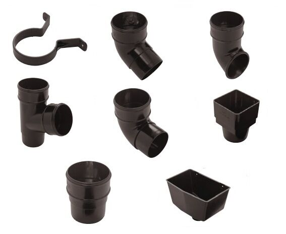 Rainwater Pipe Accessories Black Round Pipe Black