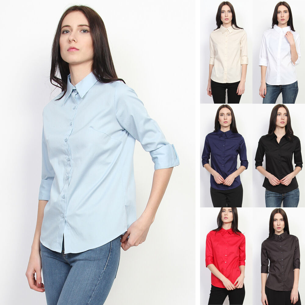 Mogan skinny fit button down 3 4 sleeve blouse basic for Womens stretch button down shirt