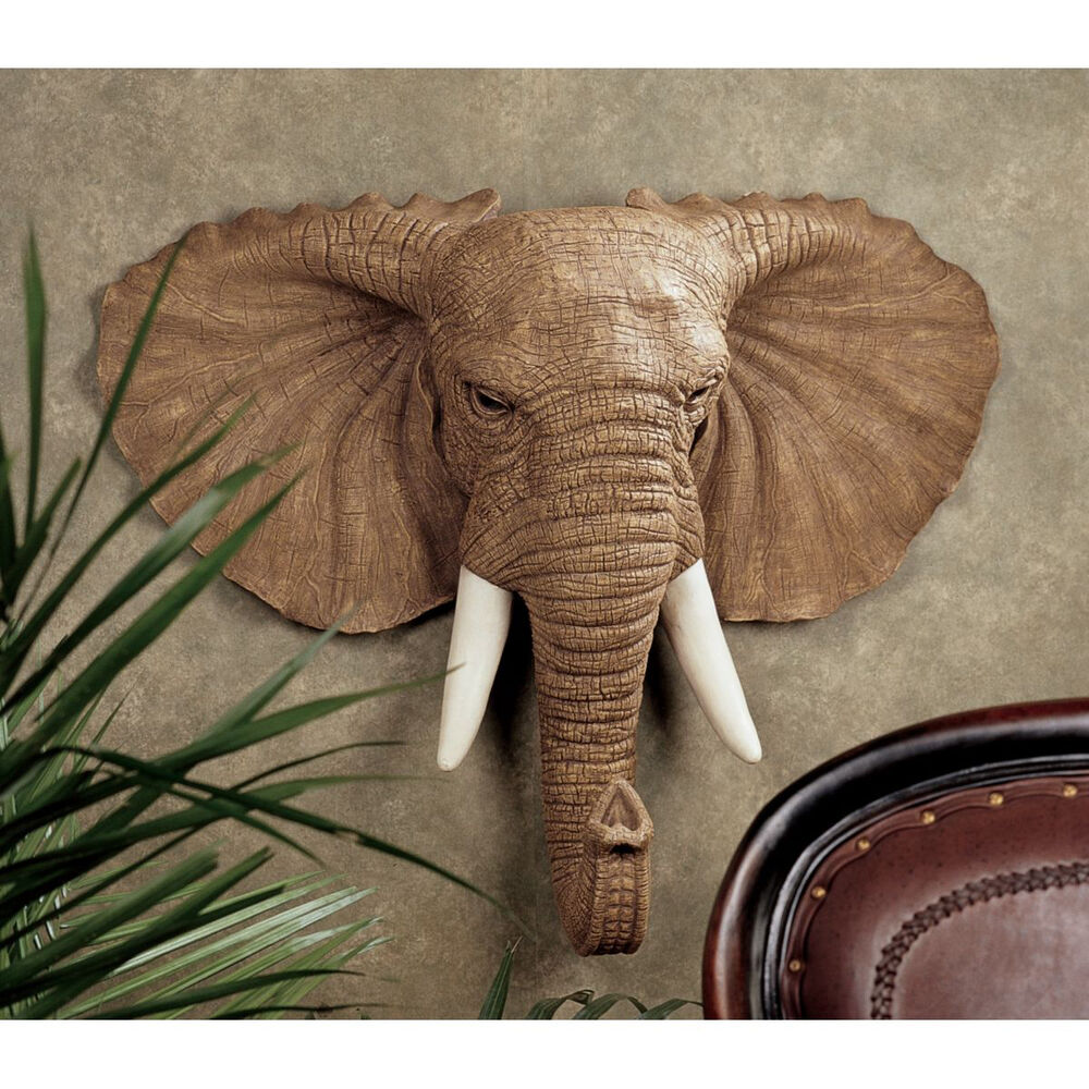 19th century style african elephant head estate trophy for Elephant decorations for home