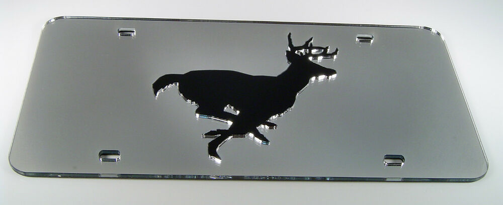 Deer Buck Hunting Running Mirror Acrylic License Plate