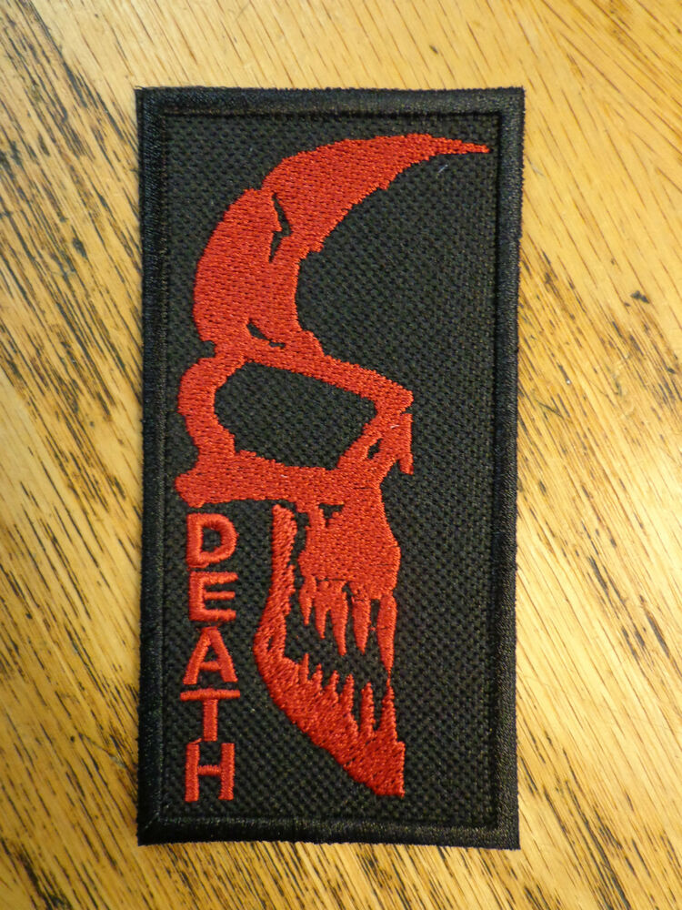 DEATH SKULL EMBROIDERED PATCH BLACK & RED MADE IN USA | eBay