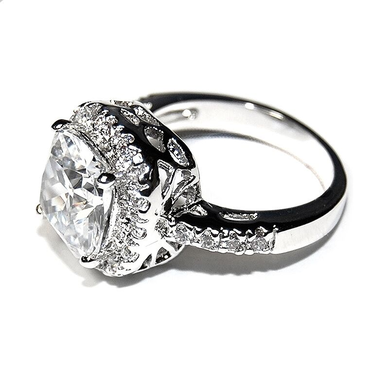 high quality cubic zirconia wedding rings pave amp 6ct cushion cut basket set 5a cubic zirconia halo 4795