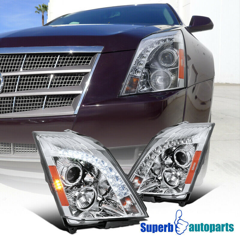 2008-2014 Cadillac CTS SMD LED Projector Headlights Chrome