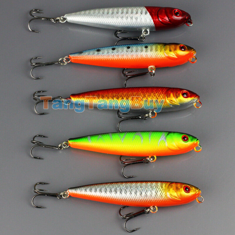 Lot 5pcs tackle fishing topwater floating pencil lure for Topwater fishing lure