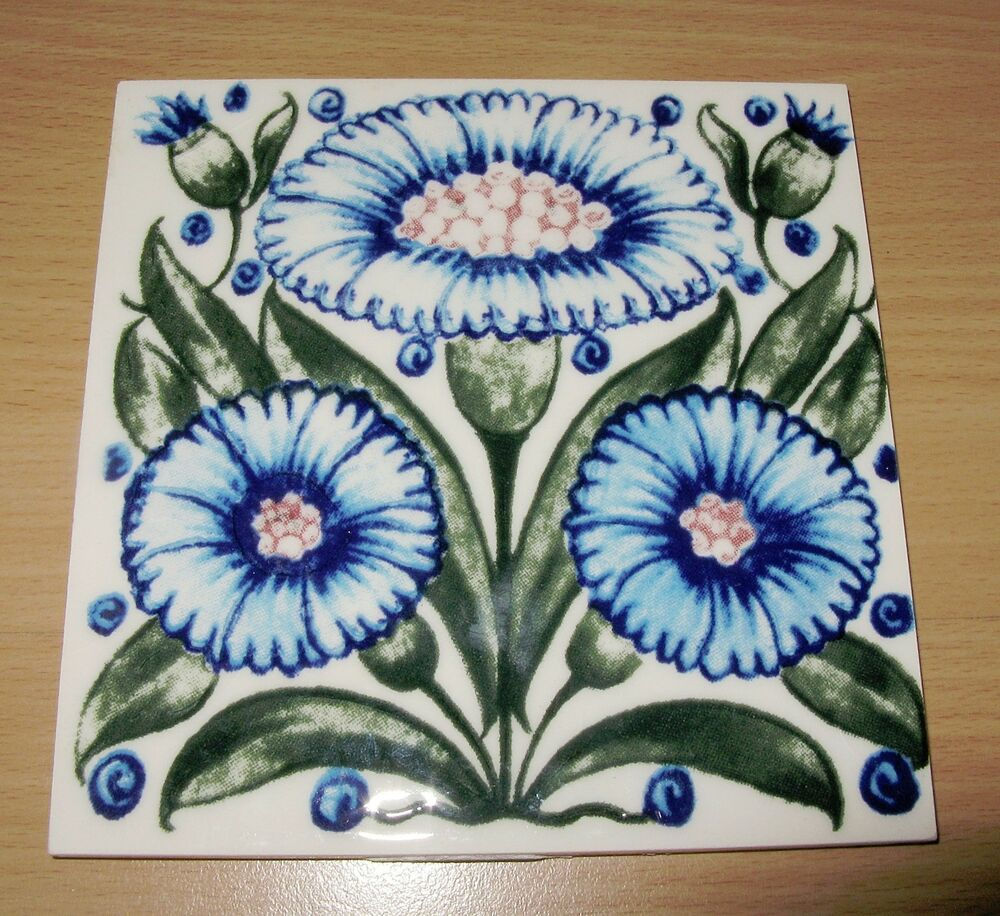 Vintage made in england ceramic glossy tile blue flowers for Ceramic tiles for crafts projects