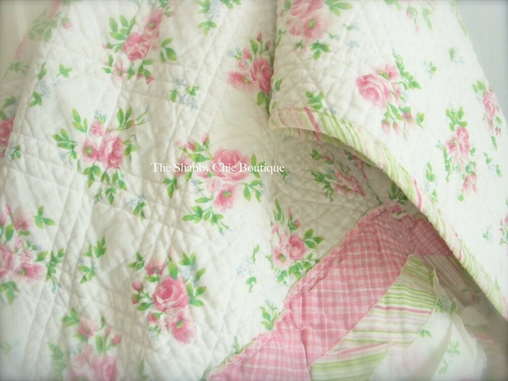 april cornell cottage pink rag roses double queen bed quilt shabby ruffle chic ebay. Black Bedroom Furniture Sets. Home Design Ideas
