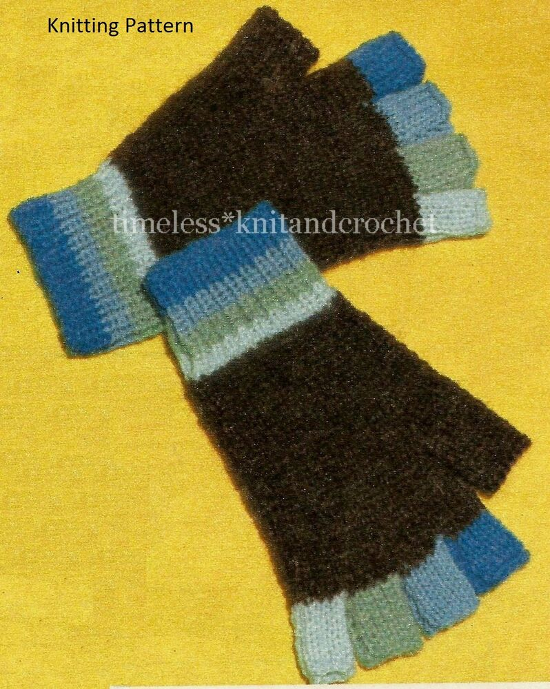 Knitting Pattern Fingerless Mittens Two Needles : VINTAGE KNITTING PATTERN FOR FINGERLESS GLOVES - worked on 2 needles - DK eBay
