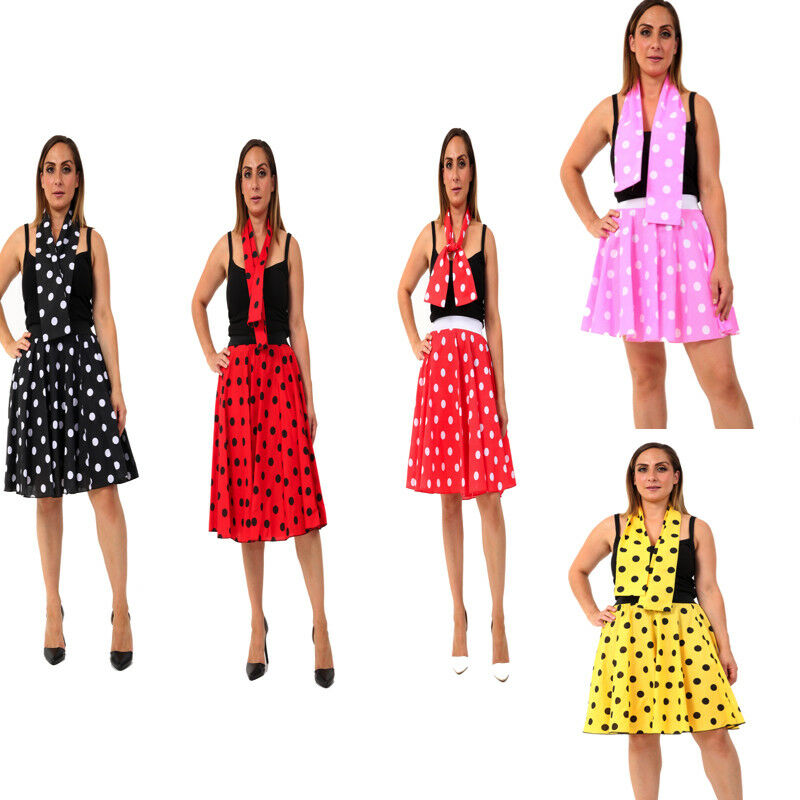 Ladies Women Polka Dot Or Plain Rock N Roll Poodle Skirt 1950s 1960s Style