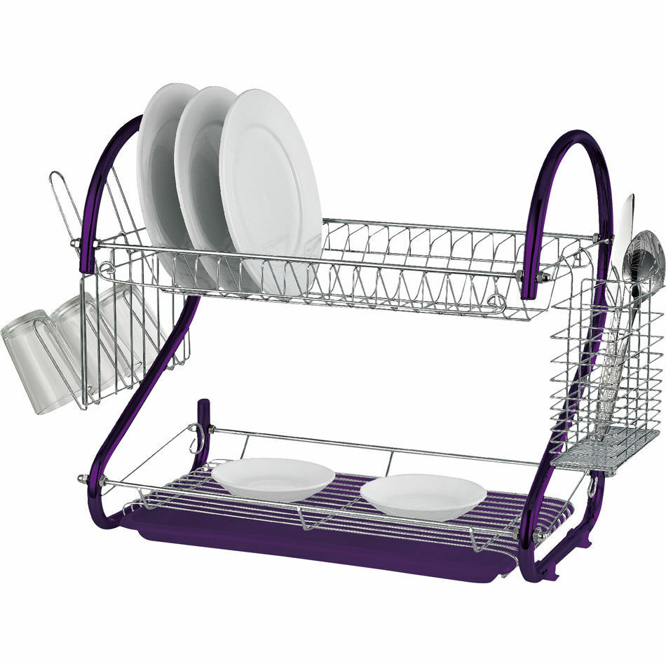 purple 2 tier chrome kitchen dish drainer plates rack glass cutlery holder ebay. Black Bedroom Furniture Sets. Home Design Ideas