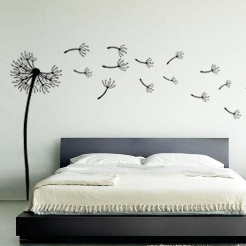 dandelion flower wind blowing floral wall art sticker stickers decal vinyl 2 ebay. Black Bedroom Furniture Sets. Home Design Ideas