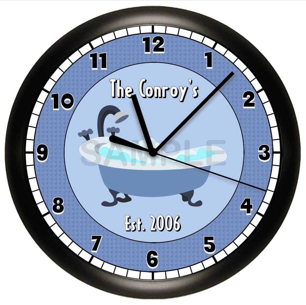 personalized bathtub bathroom wall clock blue house. Black Bedroom Furniture Sets. Home Design Ideas