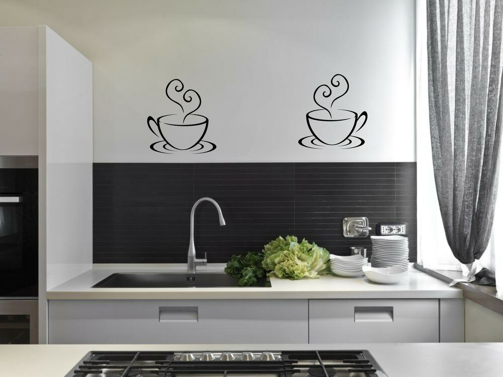 2 coffee cups tea kitchen wall stickers cafe vinyl art for Kitchen cabinets lowes with modern wall art stickers