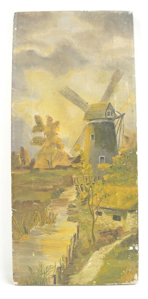 Antique Oil Painting Dutch Windmill and Stream Landscape ... Dutch Windmill Painting