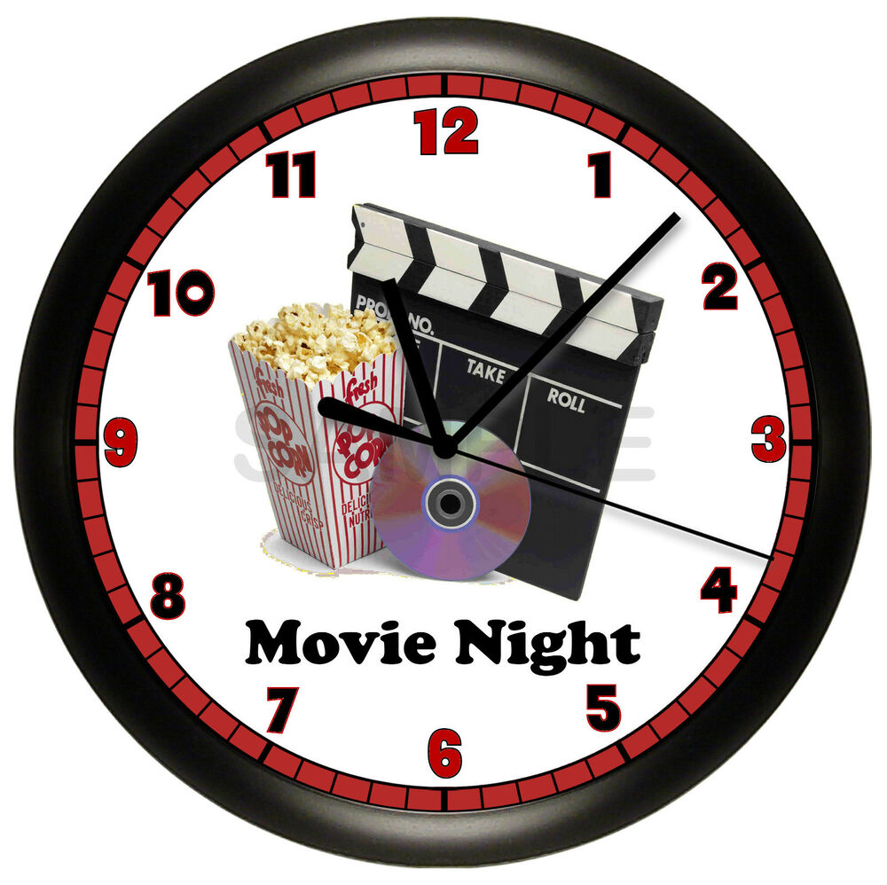movie night wall clock home theater room recreation house. Black Bedroom Furniture Sets. Home Design Ideas