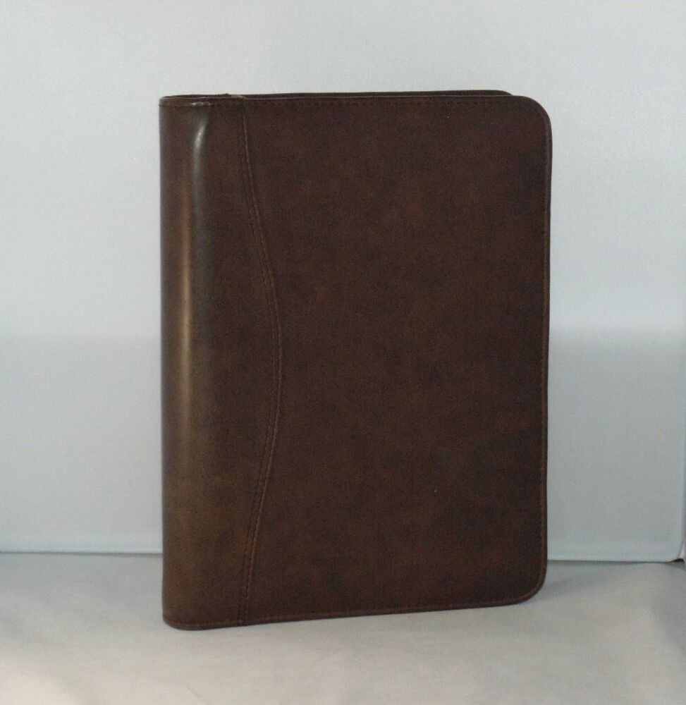 Classic Brown Sim Leather Day Planner Binder by Day Timer 1"