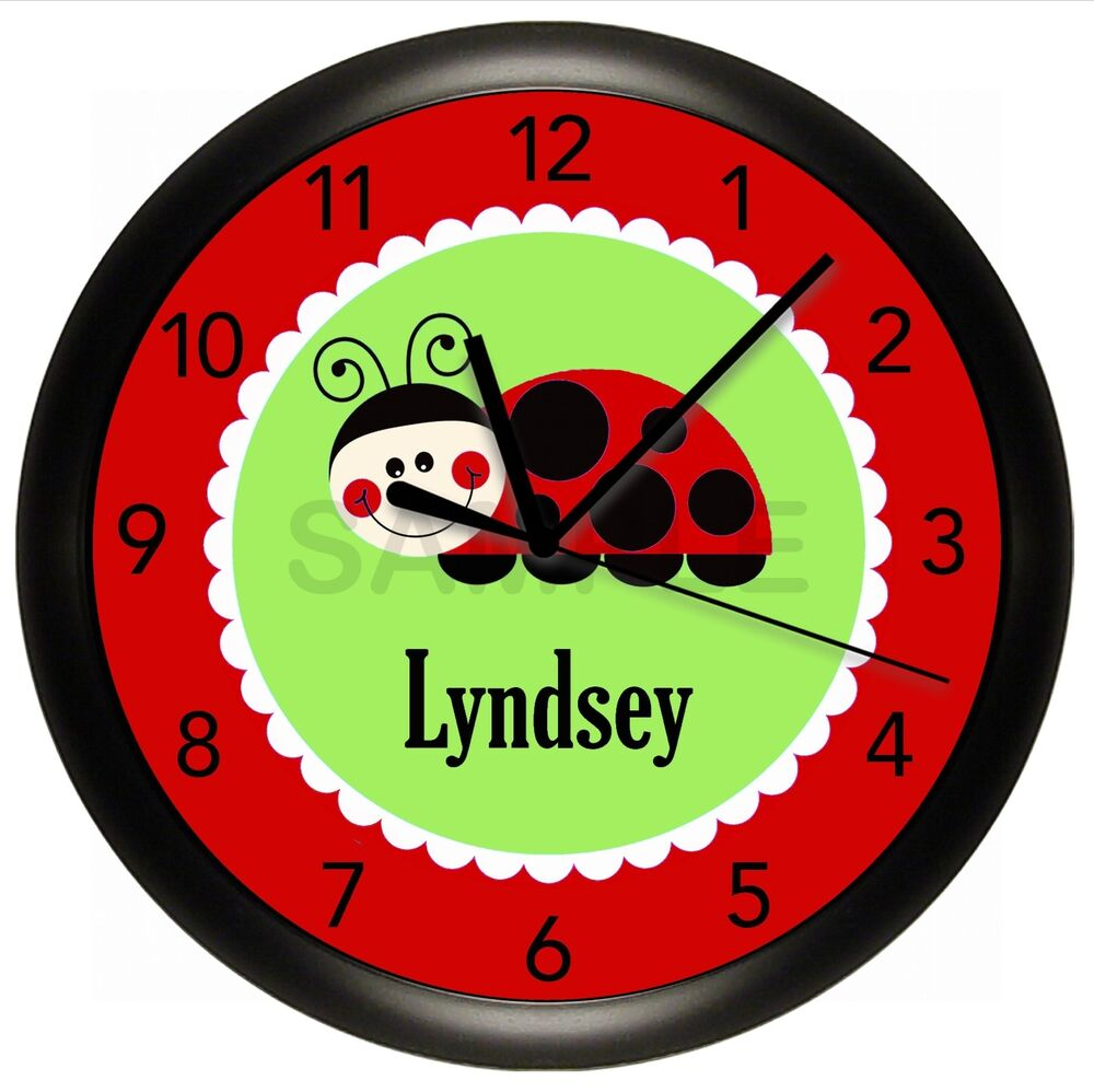 personalized red and green ladybug children 39 s wall clock. Black Bedroom Furniture Sets. Home Design Ideas
