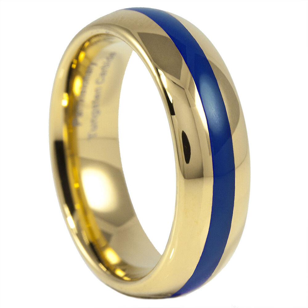 thin blue line wedding ring thin blue line ring tungsten carbide gold ip and blue 7969