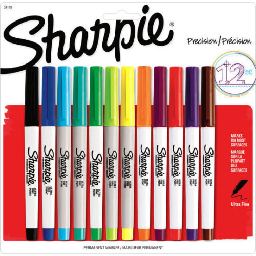 sharpie ultra fine point permanent markers 12 assorted colored markers 37175 ebay. Black Bedroom Furniture Sets. Home Design Ideas